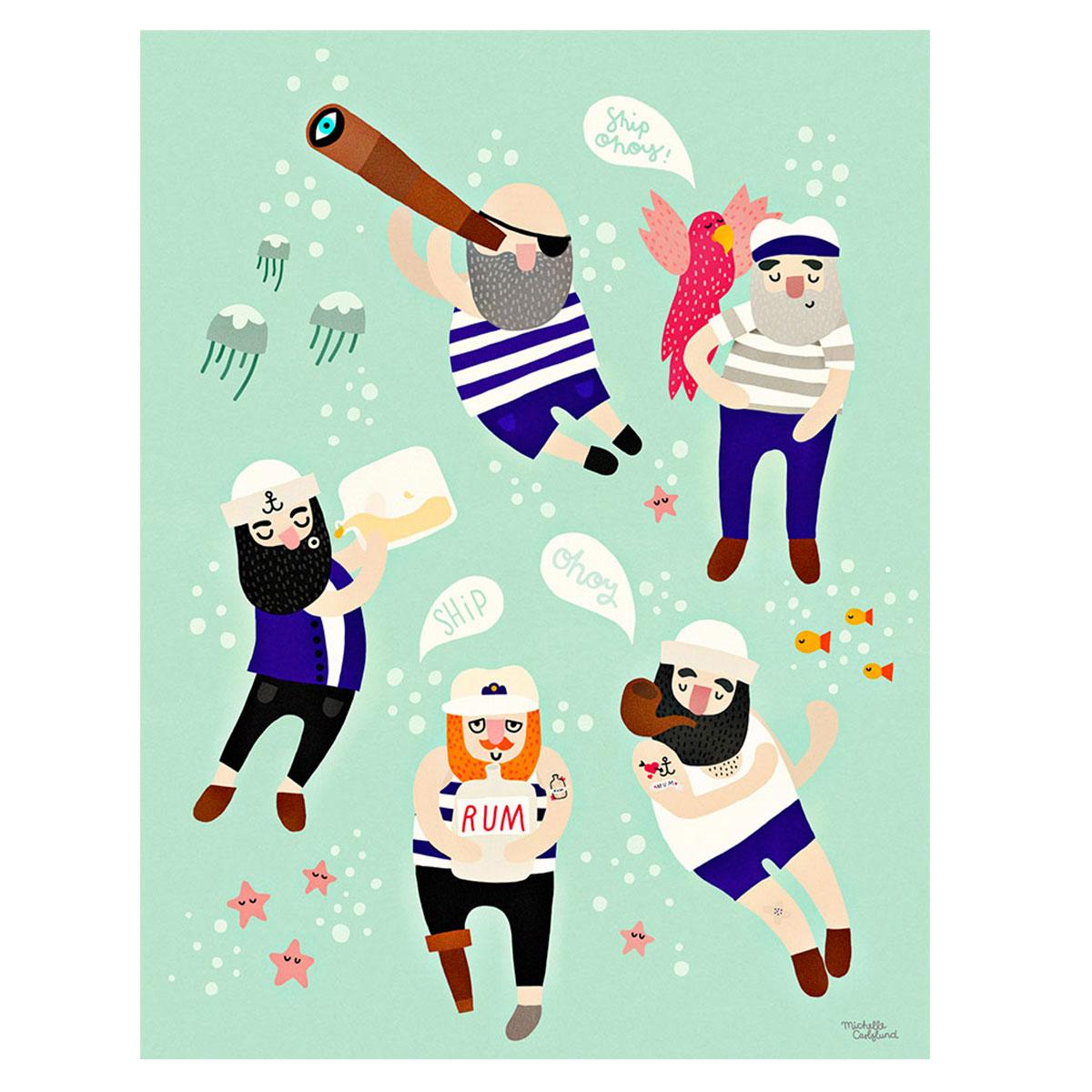 Image of   Plakat - Sailor Friends af Michelle Carlslund
