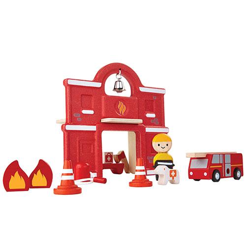 Billede af Plantoys brandstation - Inkl. brandmand, brandbil og tilbehør