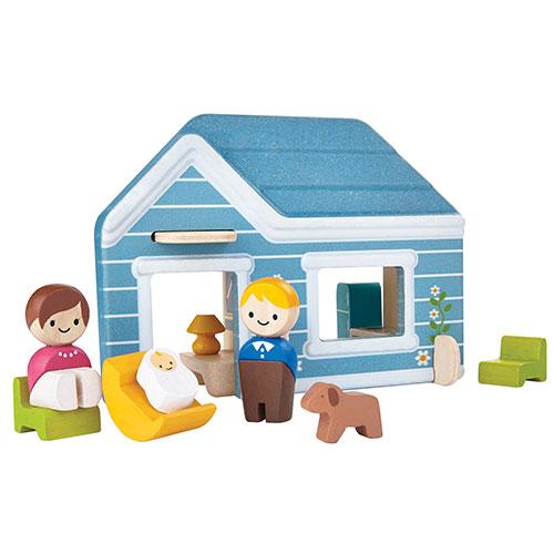 Billede af Plantoys hjem med figurer - Inkl. hus, mor, far, baby og hund