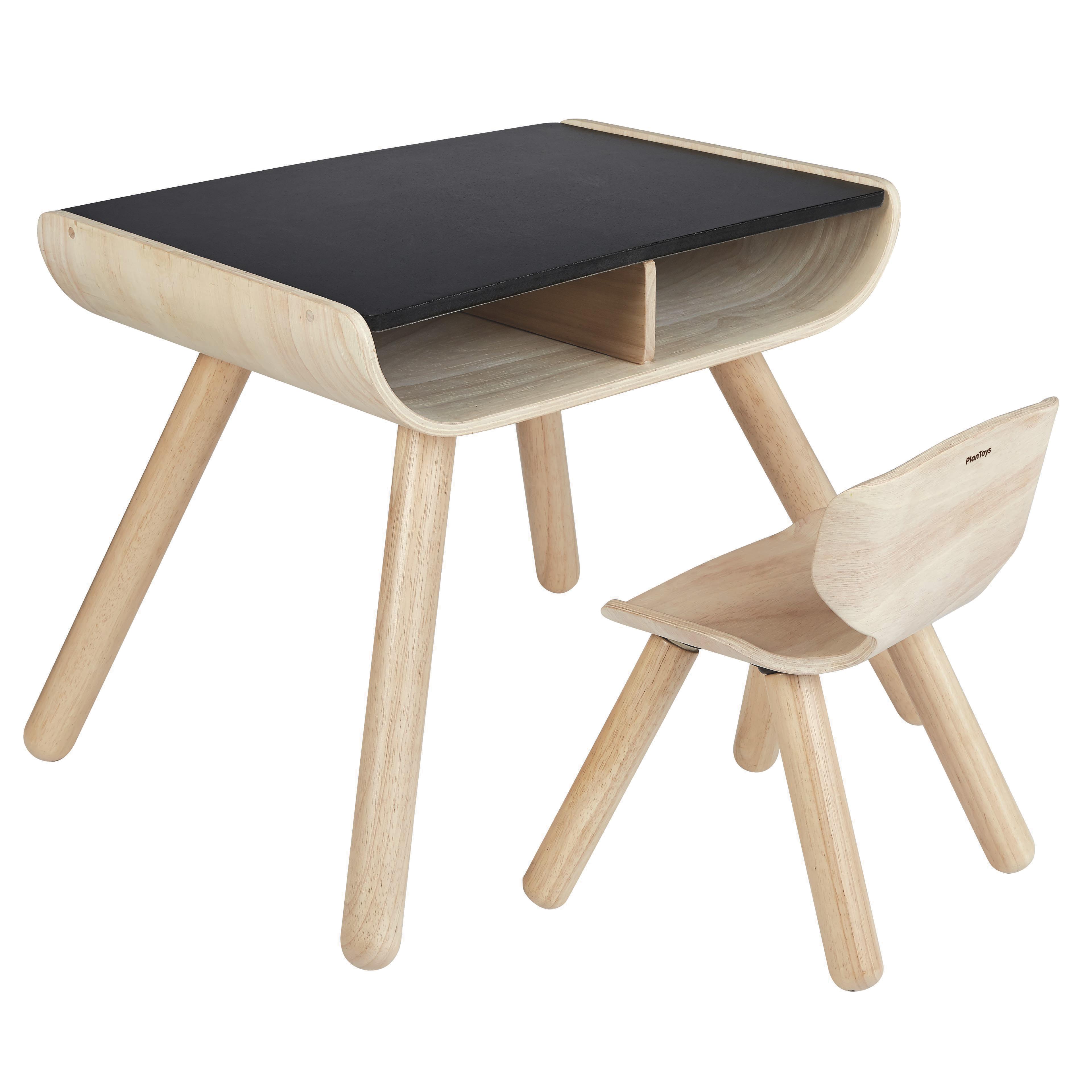 Image of   Plantoys stol og bord - Natur/sort