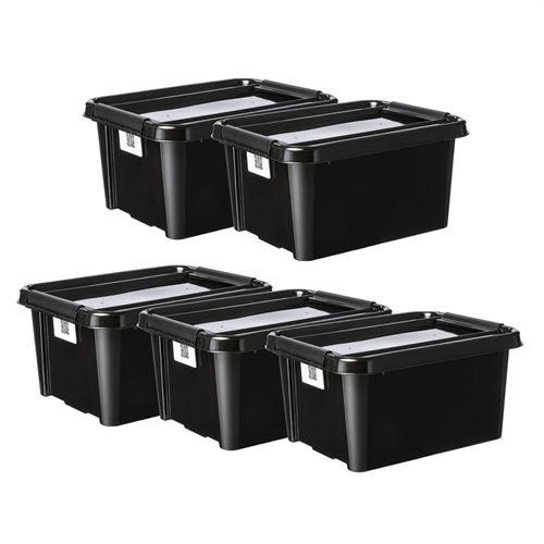 Folkekære Plast Team opbevaringskasser - 32 liter - Sort 5 stk. - Med QR TN-37