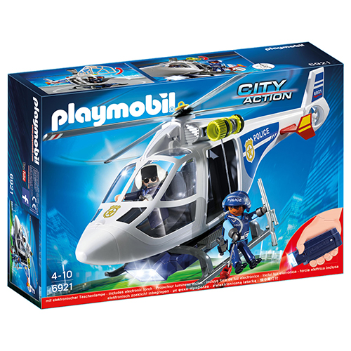 Image of   Playmobil politihelikopter med LED-søgelys