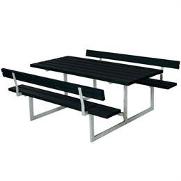 Plus bord- og bænkesæt - Basic med 2 ryglæn - Sort