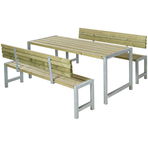 Image of   Plus bord- og bænkesæt med ryglæn - Alma - Natur