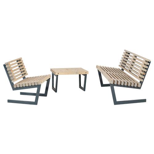 Image of   Plus loungesæt med sofa, stol og lille bord - Siesta - Drivtømmer-look