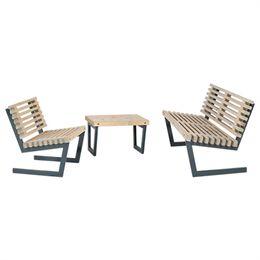 Plus loungesæt med sofa, stol og lille bord - Siesta - Drivtømmer-look