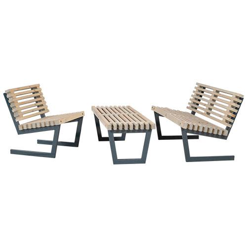 Image of   Plus loungesæt med sofa, stol og stort bord - Siesta - Drivtømmer-look