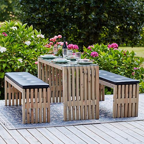 Plus tralle bord- og bænkesæt - Grundmalet - Natur