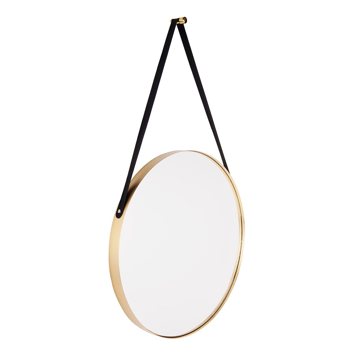 rundt spejl med rem Present Time spejl   Balanced   Messing/Sort Ø 47 cm   Rundt spejl  rundt spejl med rem