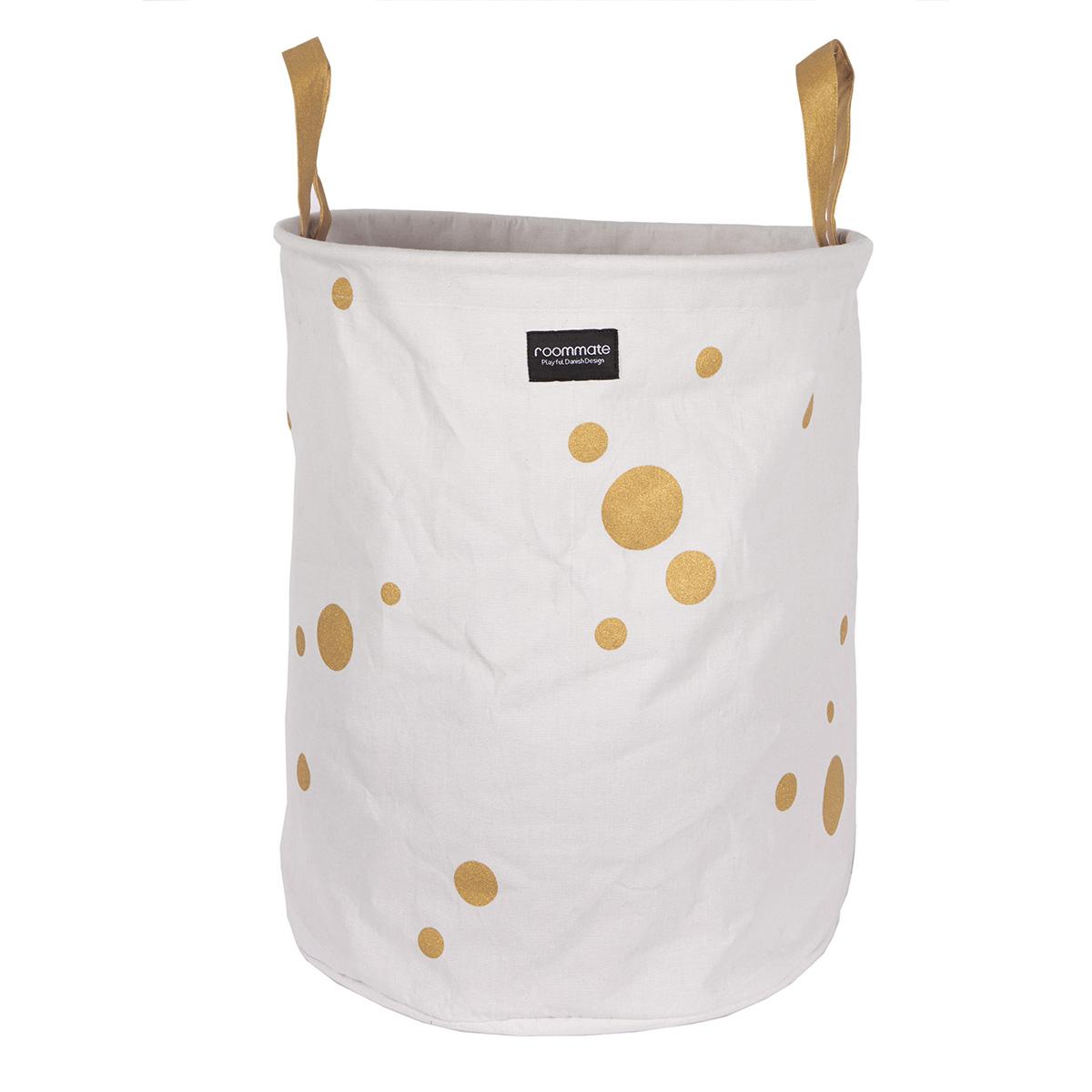 Image of   Roommate stor opbevaringskurv - Golden Dots - Hvid/guld