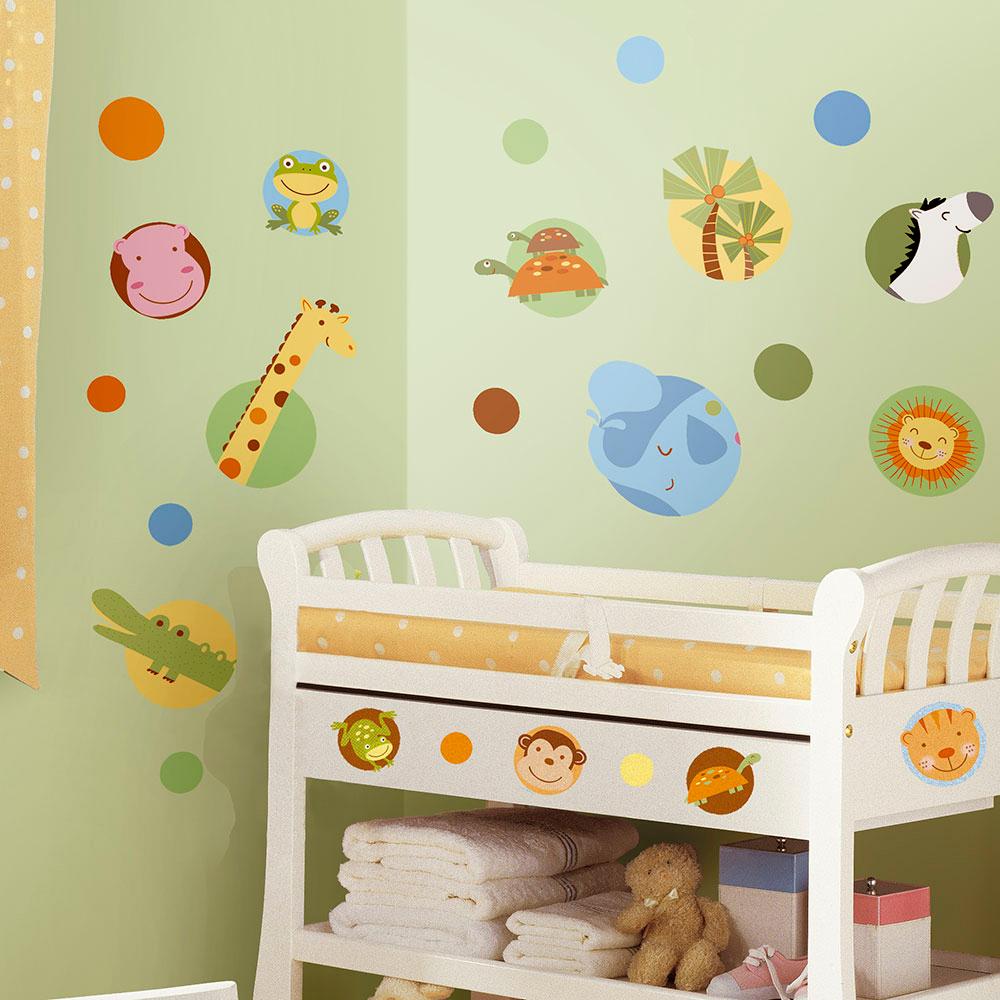 Image of   RoomMates wallstickers med runde jungledyr