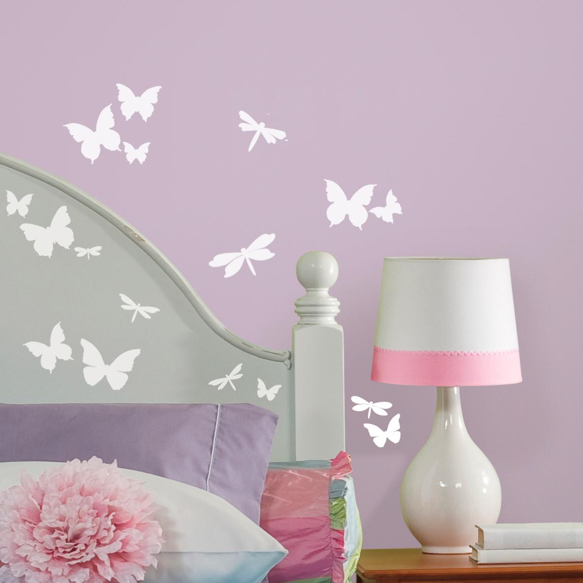 Image of   RoomMates wallstickers med sommerfugle og guldsmede