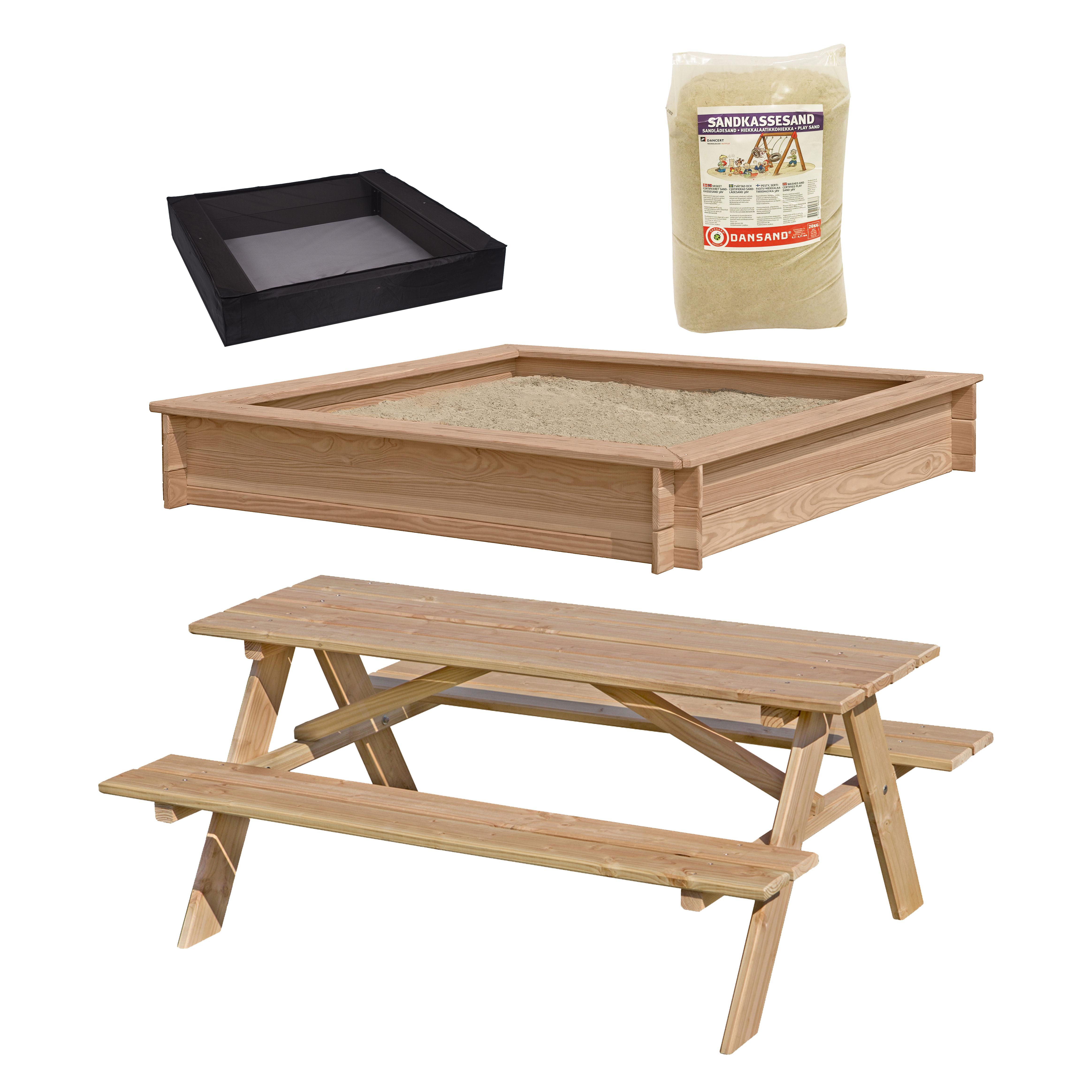 Image of   Sandkasse og bord- og bænkesæt i lærketræ