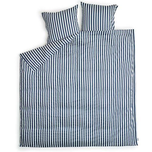 Sengetøj   redgreen   hvide og marineblå striber bomuldssatin ...