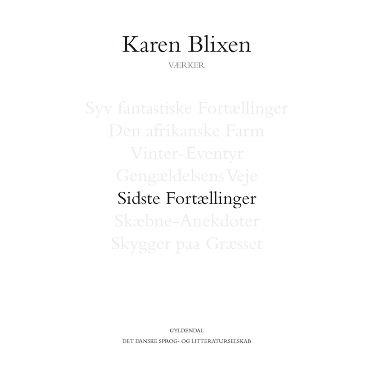 Image of   Sidste fortællinger - Indbundet