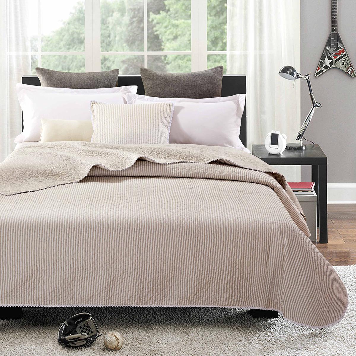Utroligt Simone quiltet sengetæppe - Beige 250 x 270 cm - Vendbart design LC62