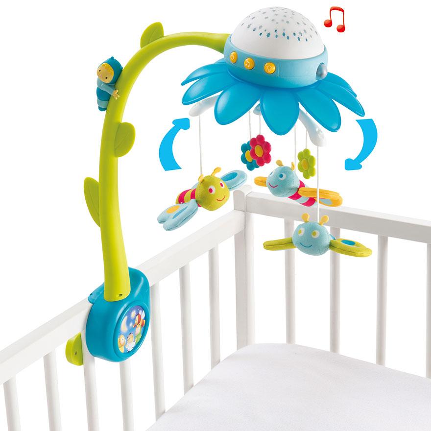 Image of   Smoby uro med musik - Cotoons Flower Mobile - Blå