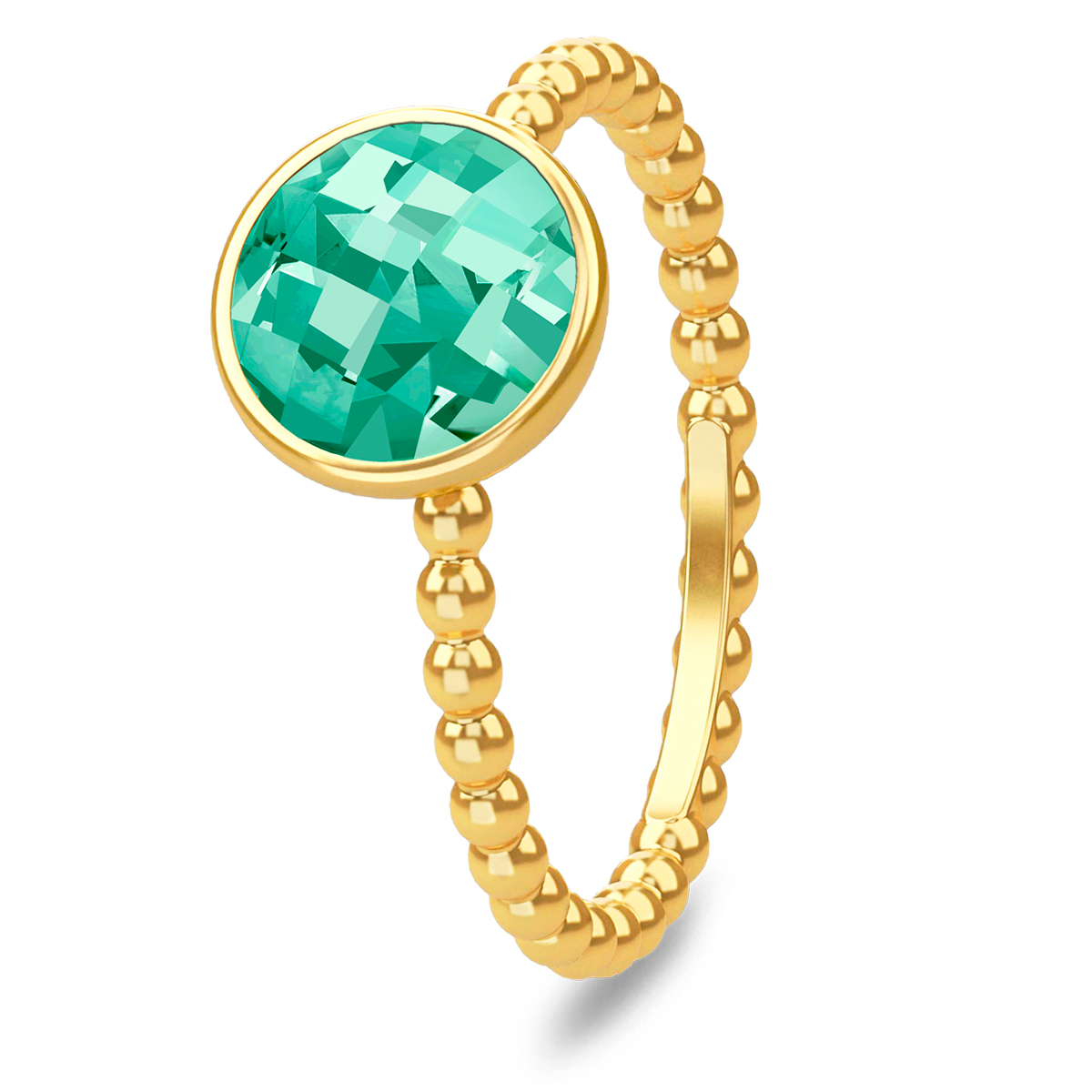 Image of   Spinning Jewelry ring - Aqua green - Forgyldt sterlingsølv