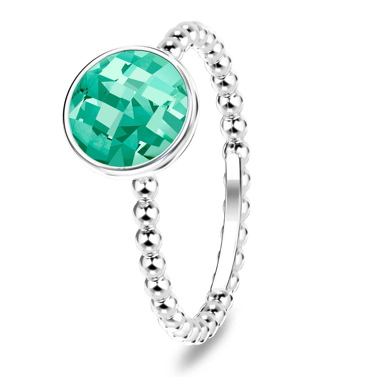 Image of   Spinning Jewelry ring - Aqua green - Rhodineret sterlingsølv