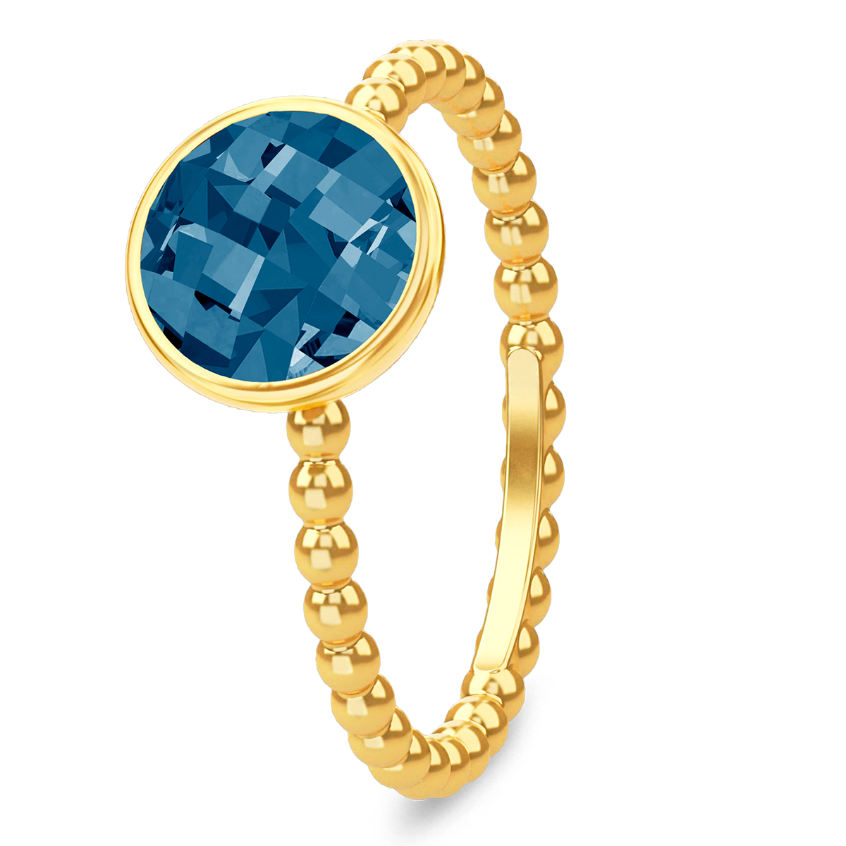 Image of   Spinning Jewelry ring - Aqua navy blue - Forgyldt sterlingsølv