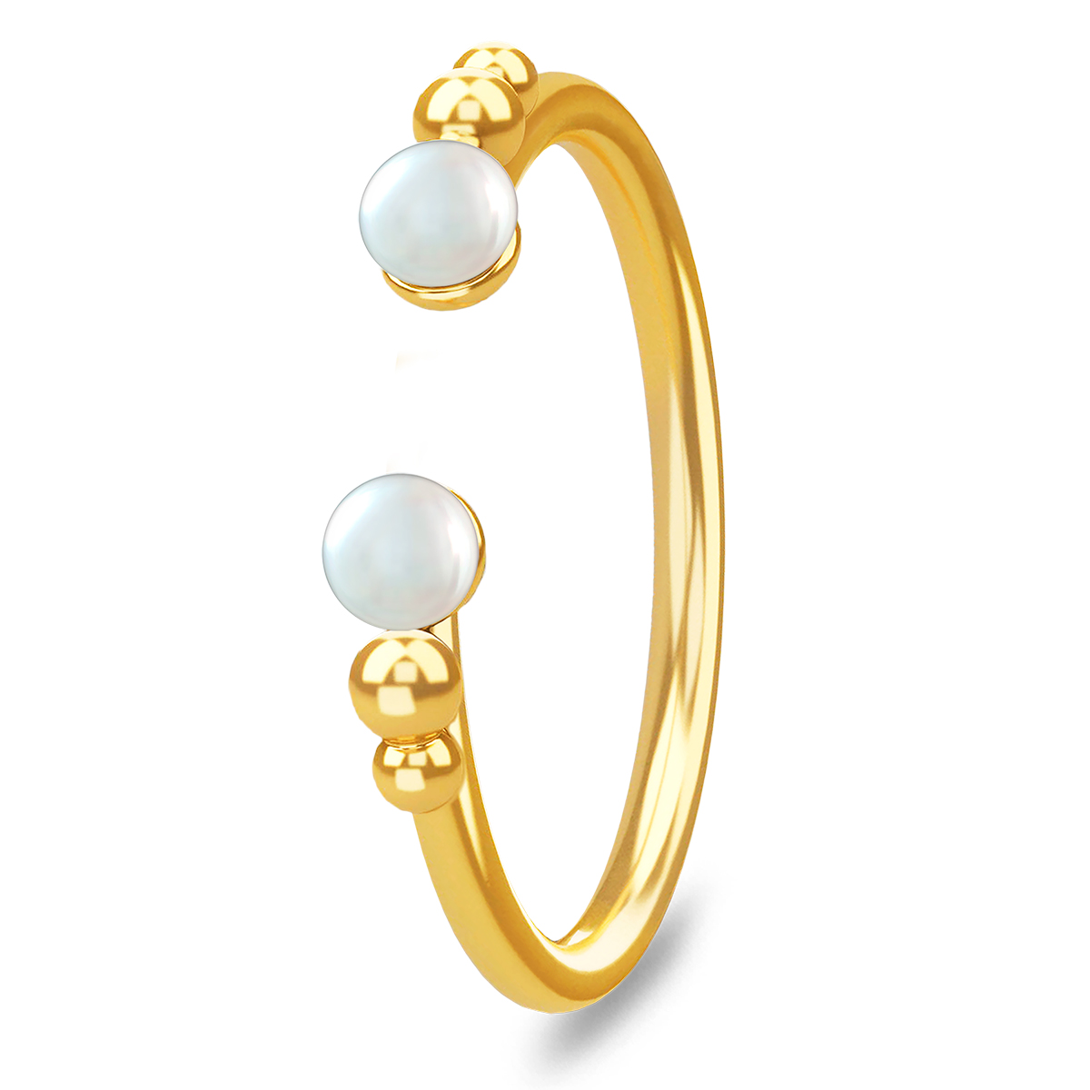 Image of   Spinning Jewelry ring - Open pearl - Forgyldt sterlingsølv