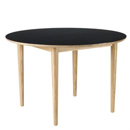 Unit10 spisebord - Bjørk - Eg/sort linoleum